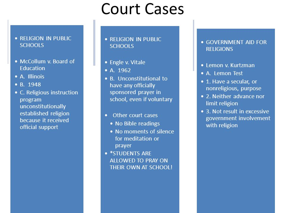 Court Cases RELIGION IN PUBLIC SCHOOLS McCollum v. Board of Education