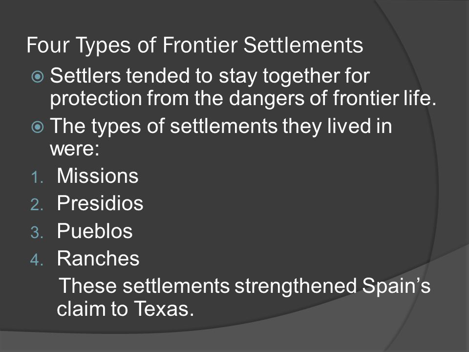 Four Types of Frontier Settlements