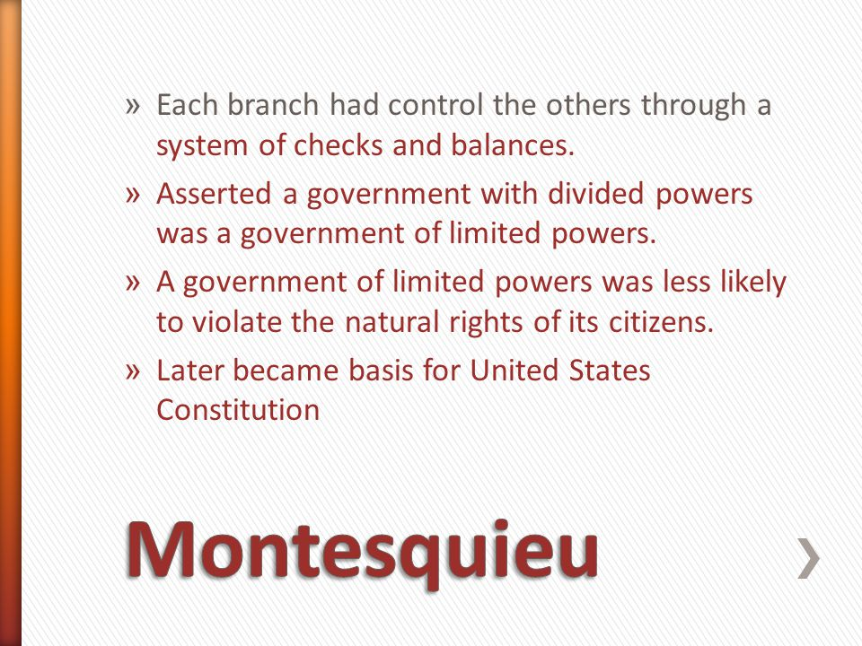 Each branch had control the others through a system of checks and balances.
