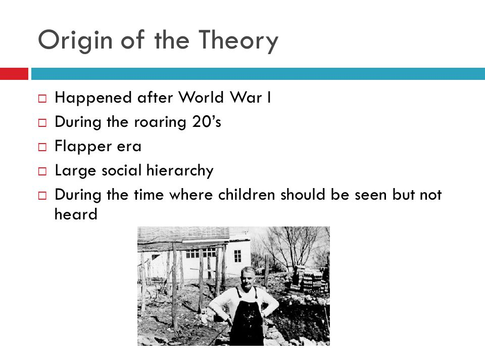 Origin of the Theory Happened after World War I