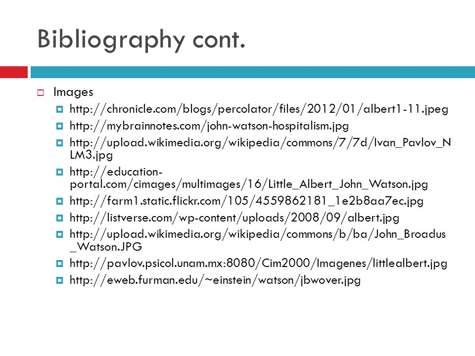 Bibliography cont. Images
