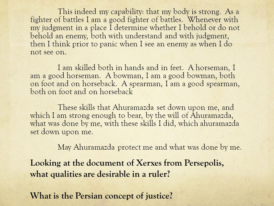 What is the Persian concept of justice