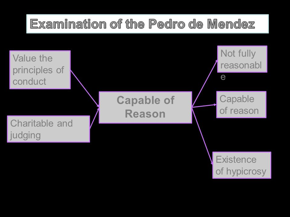 Examination of the Pedro de Mendez