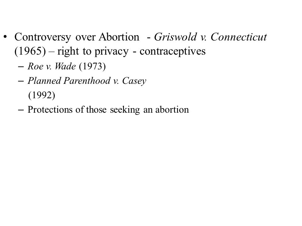 Controversy over Abortion - Griswold v