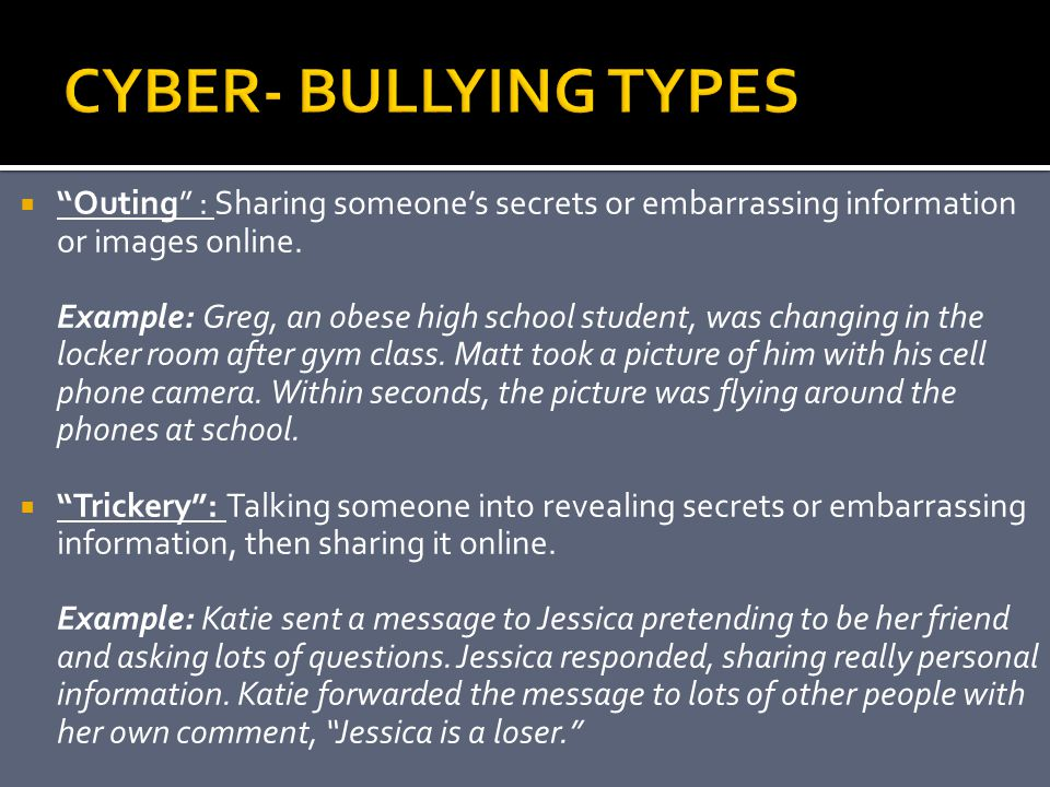 CYBER- BULLYING TYPES