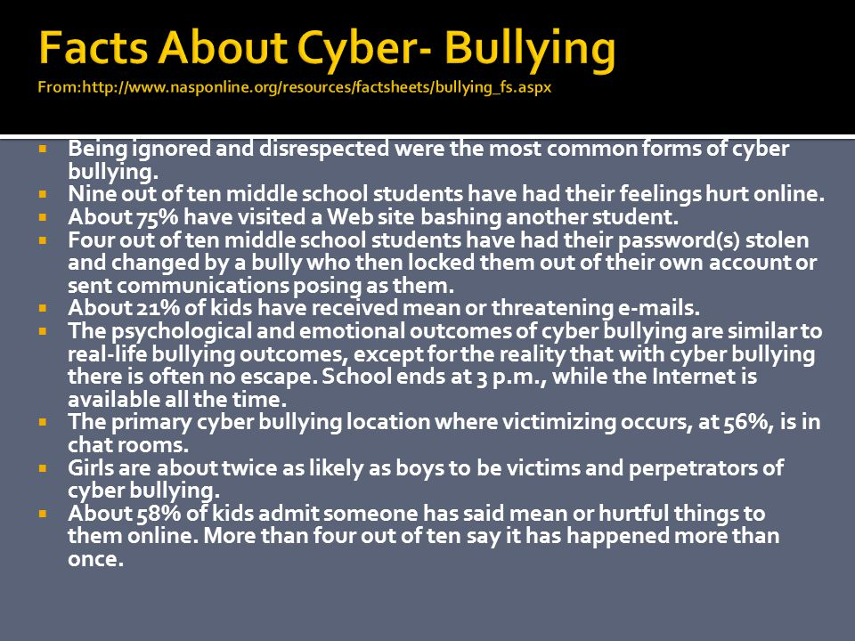 Facts About Cyber- Bullying From:http://www. nasponline