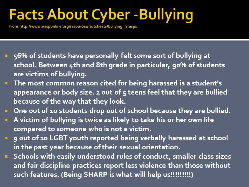 Facts About Cyber -Bullying From:http://www. nasponline
