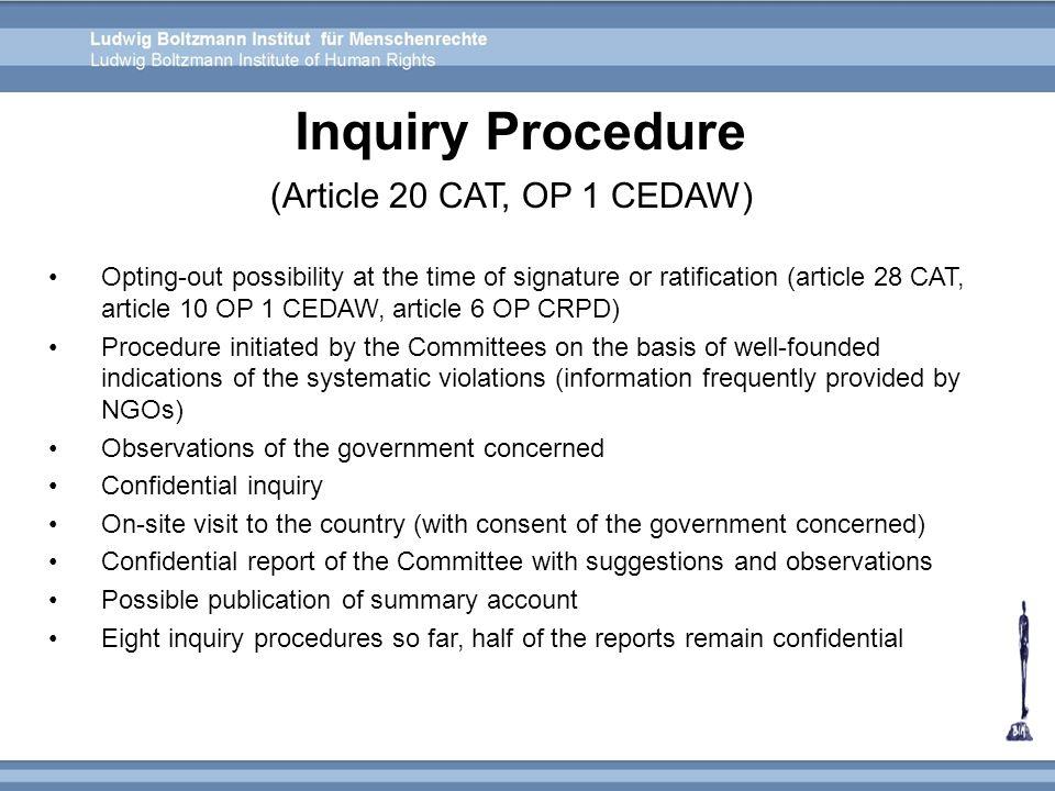 Inquiry Procedure (Article 20 CAT, OP 1 CEDAW)