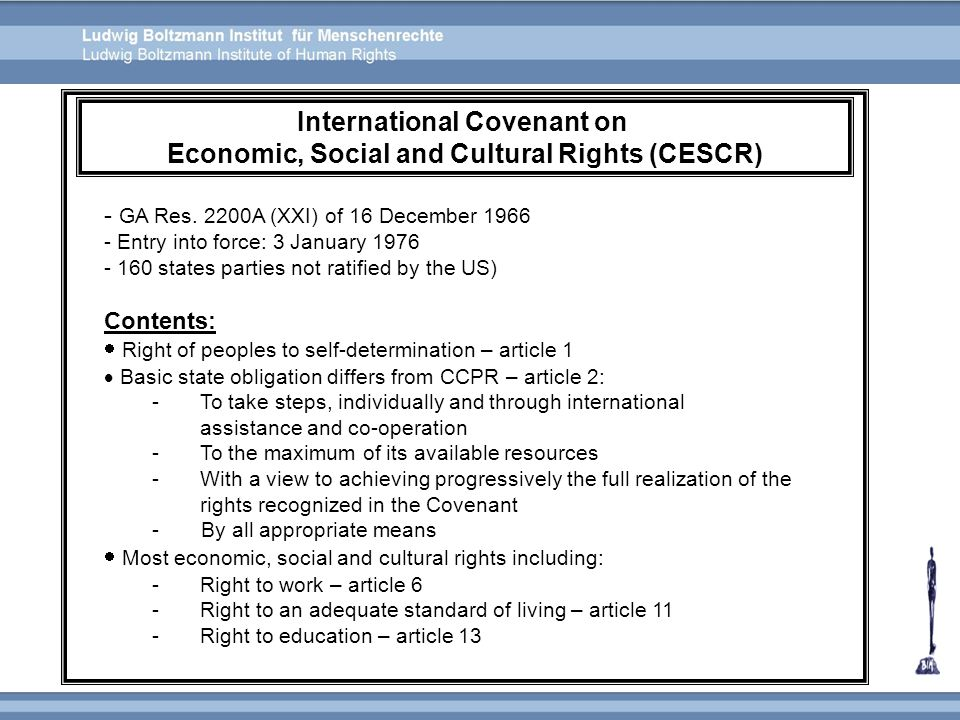 International Covenant on Economic, Social and Cultural Rights (CESCR)