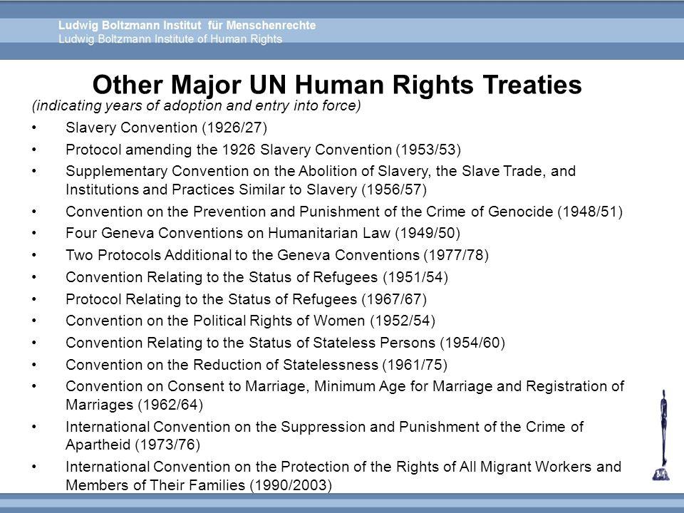 Other Major UN Human Rights Treaties