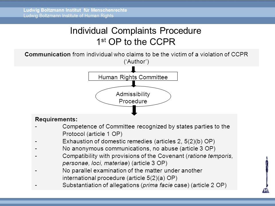 Individual Complaints Procedure 1st OP to the CCPR