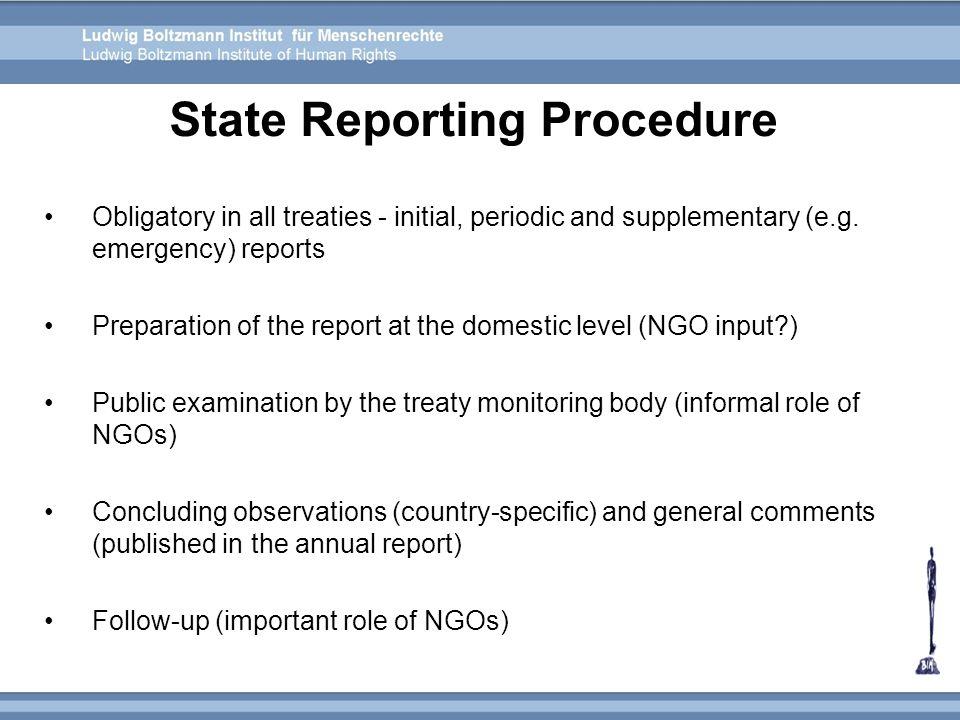 State Reporting Procedure