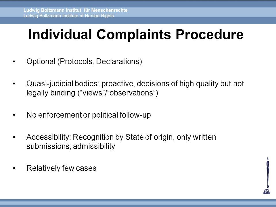 Individual Complaints Procedure
