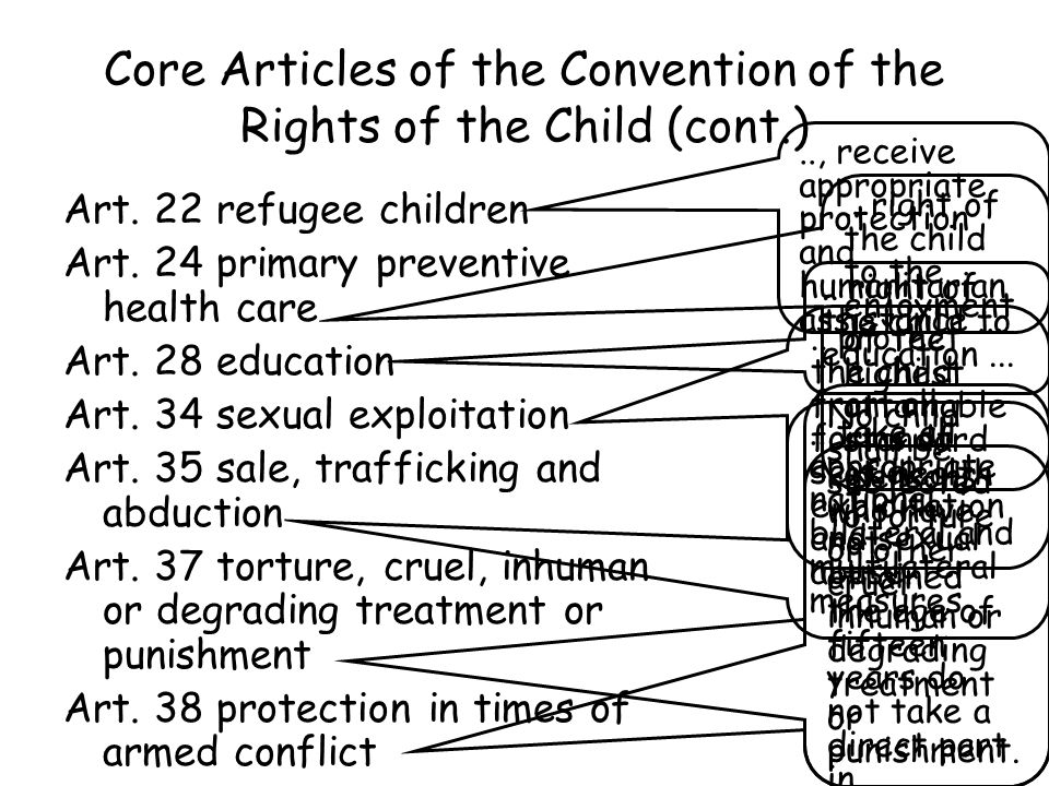 Core Articles of the Convention of the Rights of the Child (cont.)