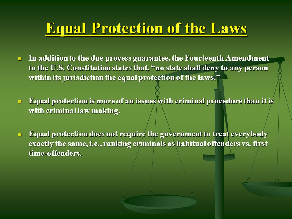Equal Protection of the Laws