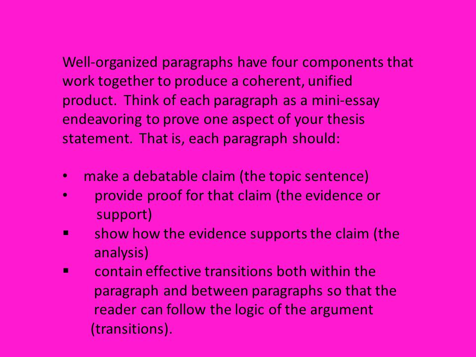 Well-organized paragraphs have four components that work together to produce a coherent, unified product. Think of each paragraph as a mini-essay endeavoring to prove one aspect of your thesis statement. That is, each paragraph should: