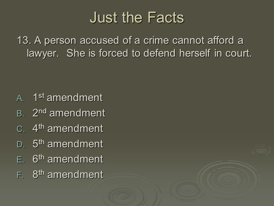 Just the Facts 13. A person accused of a crime cannot afford a lawyer. She is forced to defend herself in court.