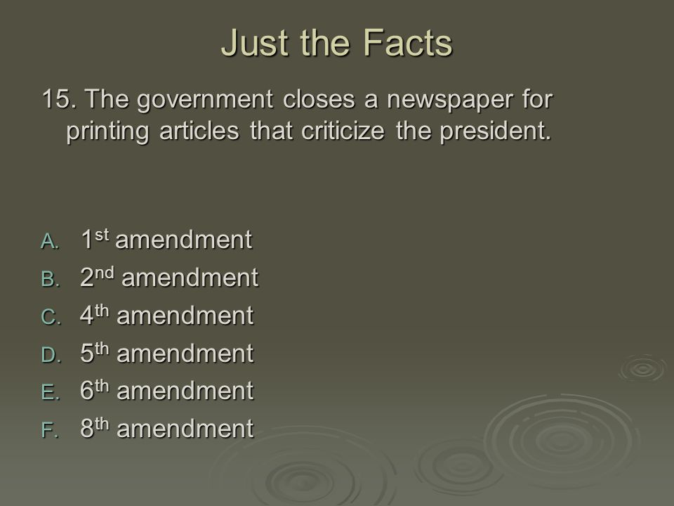Just the Facts 15. The government closes a newspaper for printing articles that criticize the president.