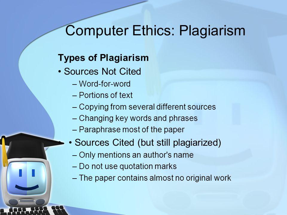 Computer Ethics: Plagiarism