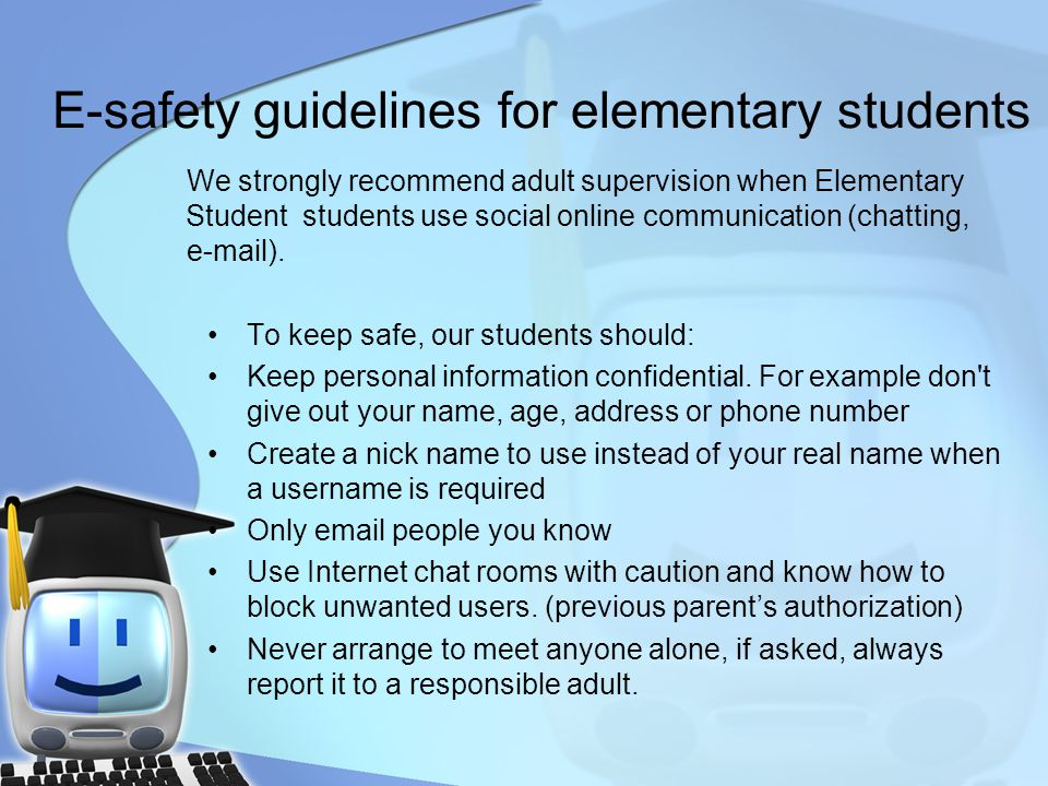 E-safety guidelines for elementary students