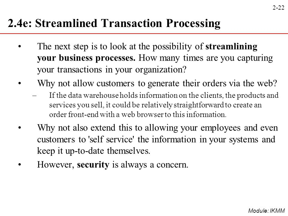 2.4e: Streamlined Transaction Processing