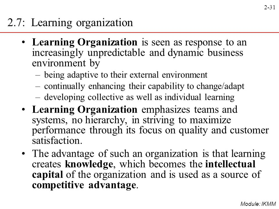 2.7: Learning organization