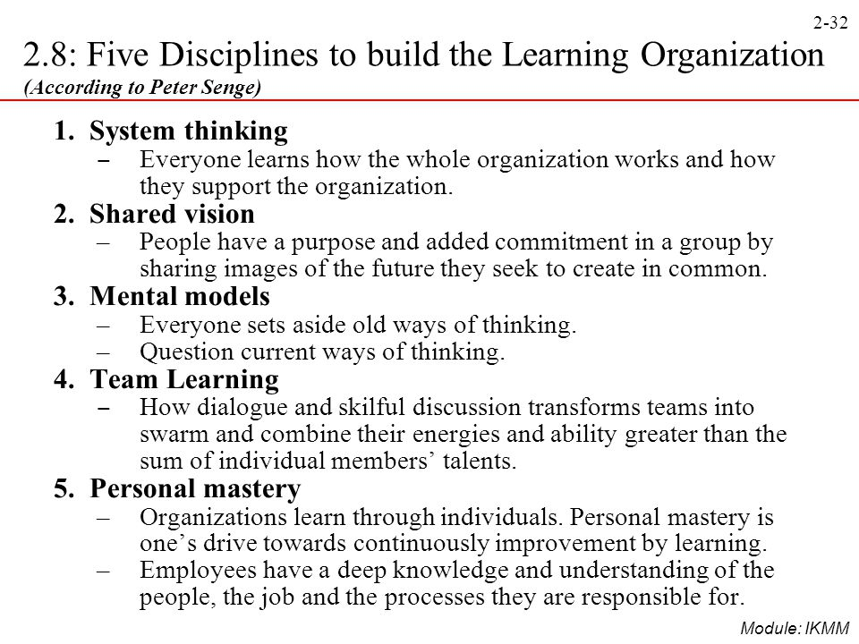 peter senge's five disciplines What is systems thinking by peter senge senge's work articulates a cornerstone position of peter senge, author of the fifth discipline.