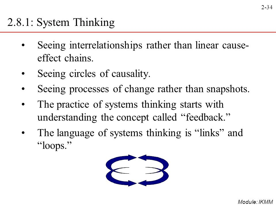 2.8.1: System Thinking Seeing interrelationships rather than linear cause-effect chains. Seeing circles of causality.