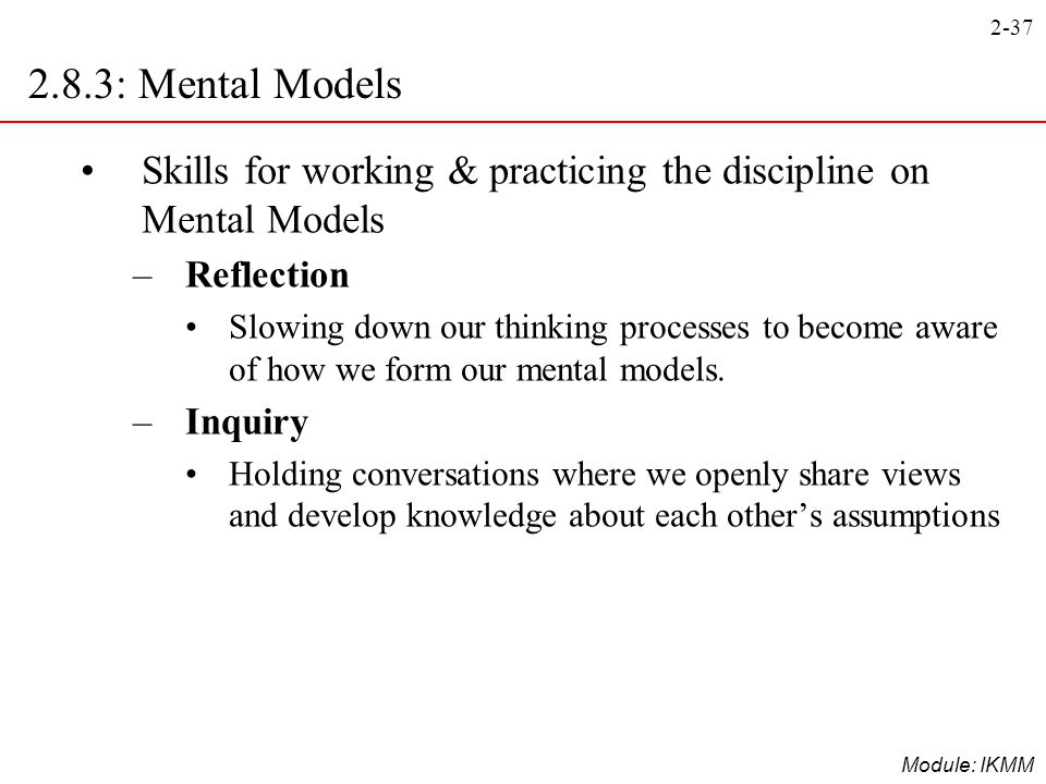 2.8.3: Mental Models Skills for working & practicing the discipline on Mental Models. Reflection.