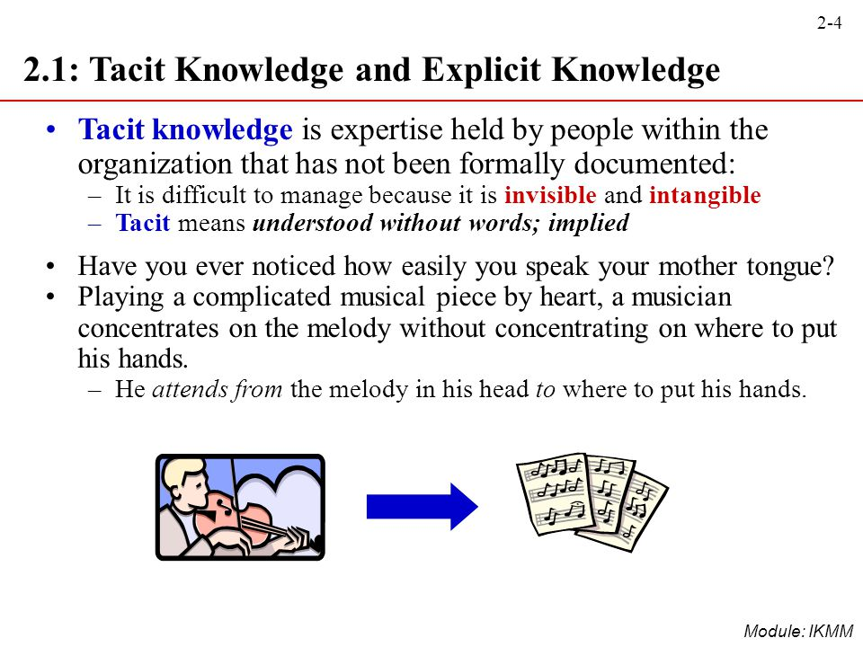 2.1: Tacit Knowledge and Explicit Knowledge