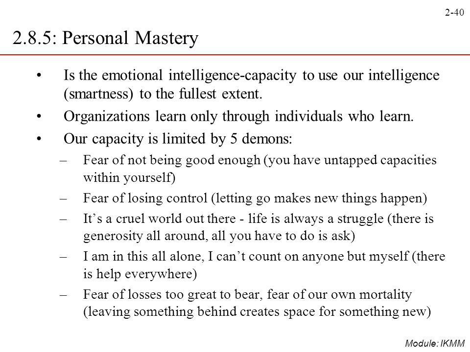 2.8.5: Personal Mastery Is the emotional intelligence-capacity to use our intelligence (smartness) to the fullest extent.