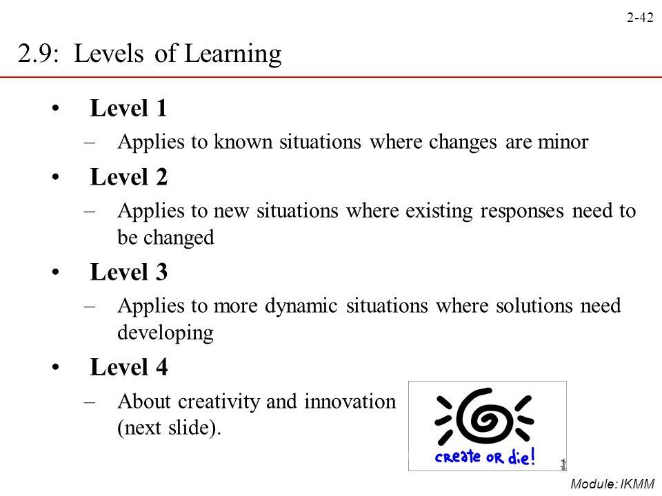 2.9: Levels of Learning Level 1 Level 2 Level 3 Level 4