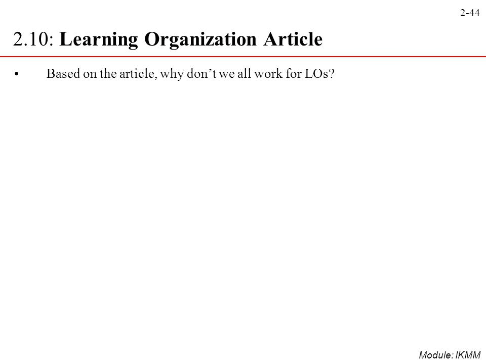 2.10: Learning Organization Article