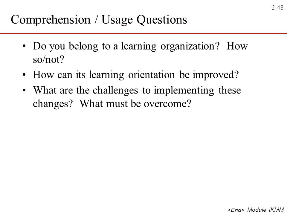 Comprehension / Usage Questions