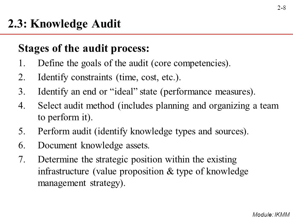 2.3: Knowledge Audit Stages of the audit process: