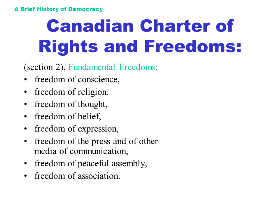 Canadian Charter of Rights and Freedoms: