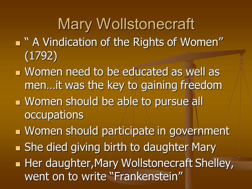 Mary Wollstonecraft A Vindication of the Rights of Women (1792)