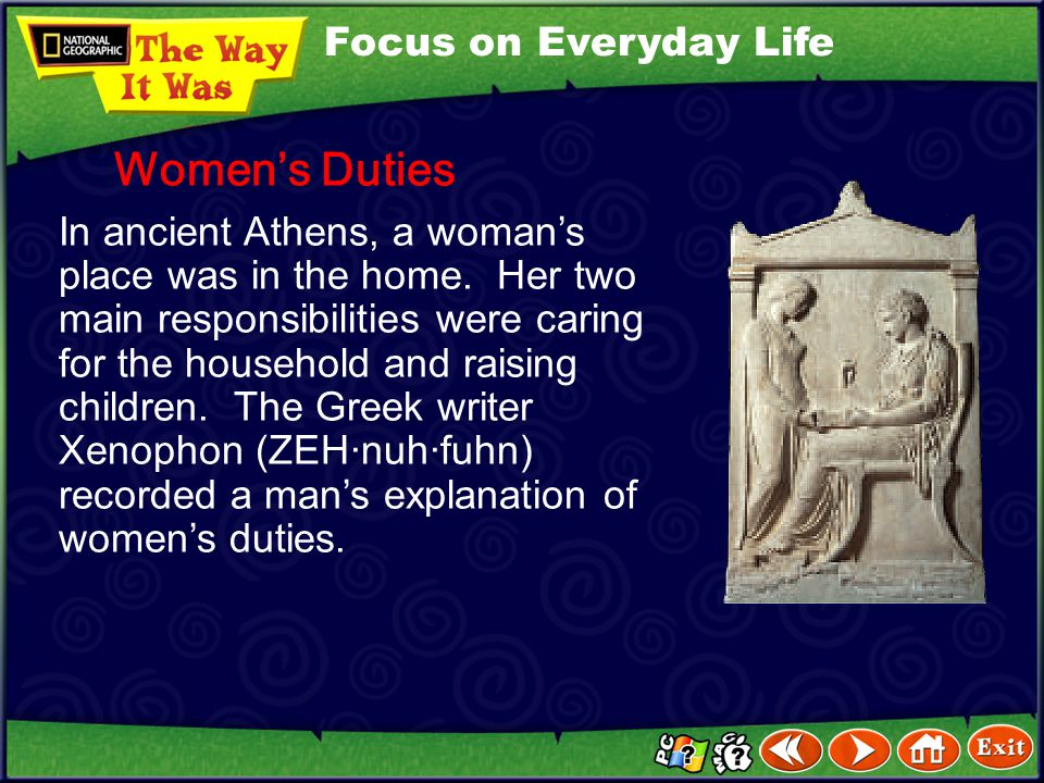 Women's Duties Focus on Everyday Life