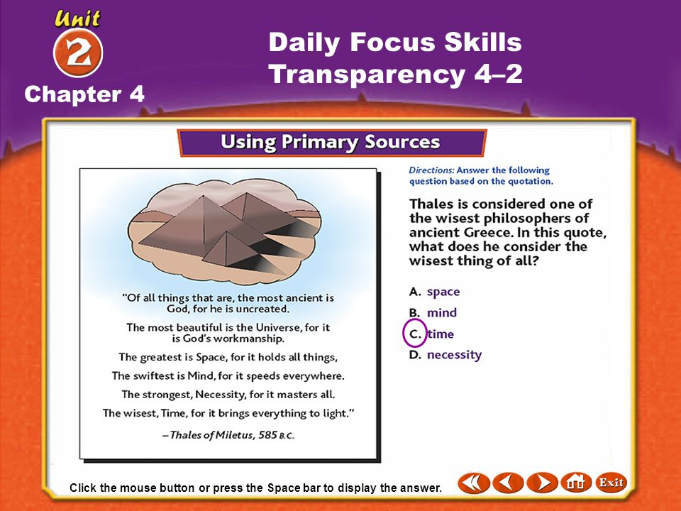 Daily Focus Skills Transparency 4–2