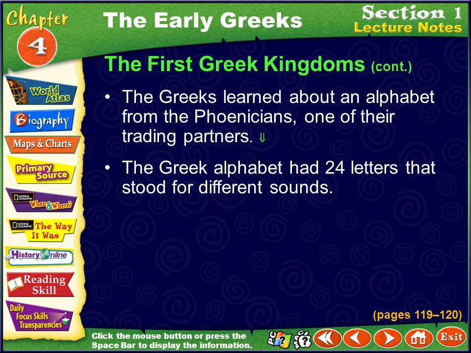 The First Greek Kingdoms (cont.)