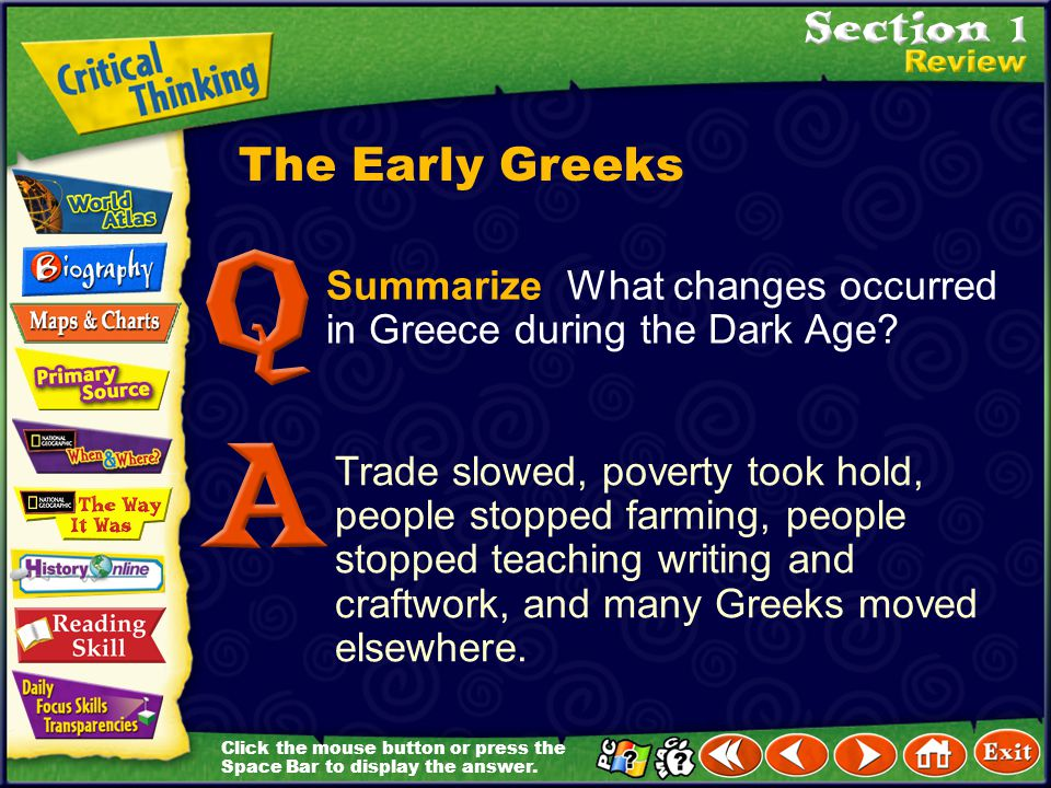 The Early Greeks Summarize What changes occurred in Greece during the Dark Age