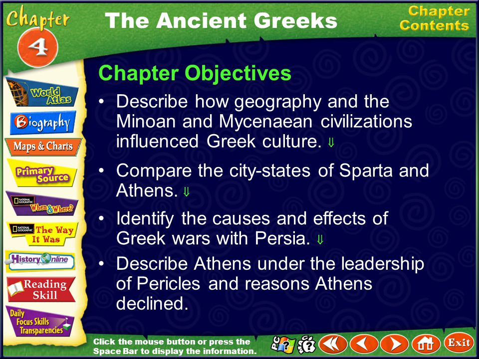 The Ancient Greeks Chapter Objectives