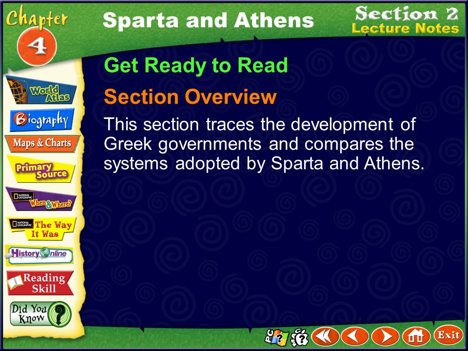 Sparta and Athens Get Ready to Read Section Overview