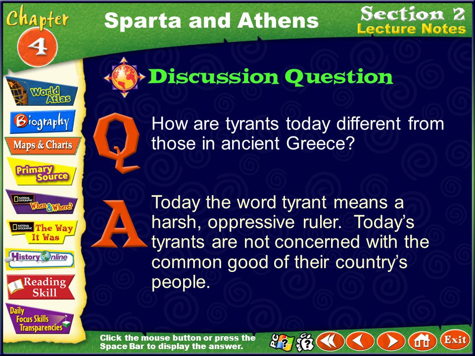 Sparta and Athens How are tyrants today different from those in ancient Greece