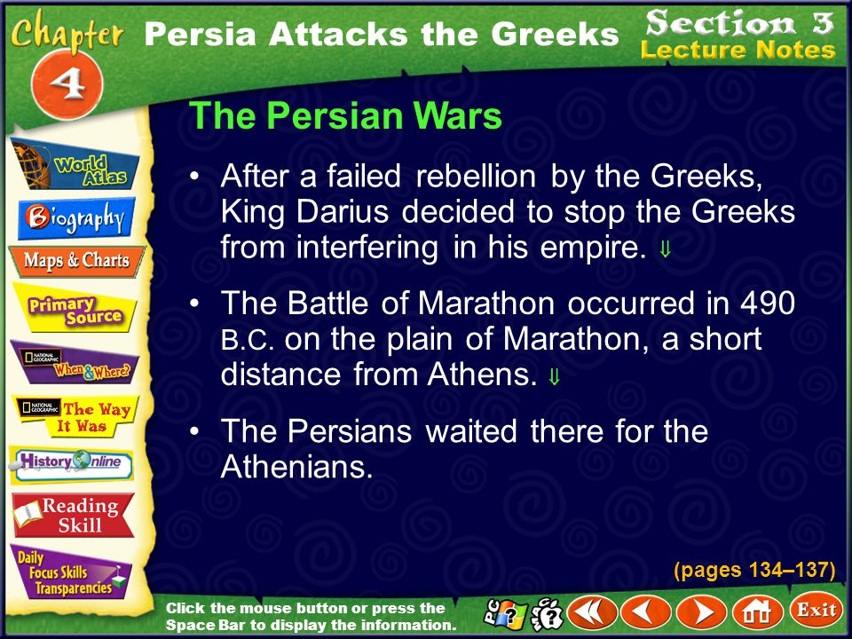 The Persian Wars Persia Attacks the Greeks