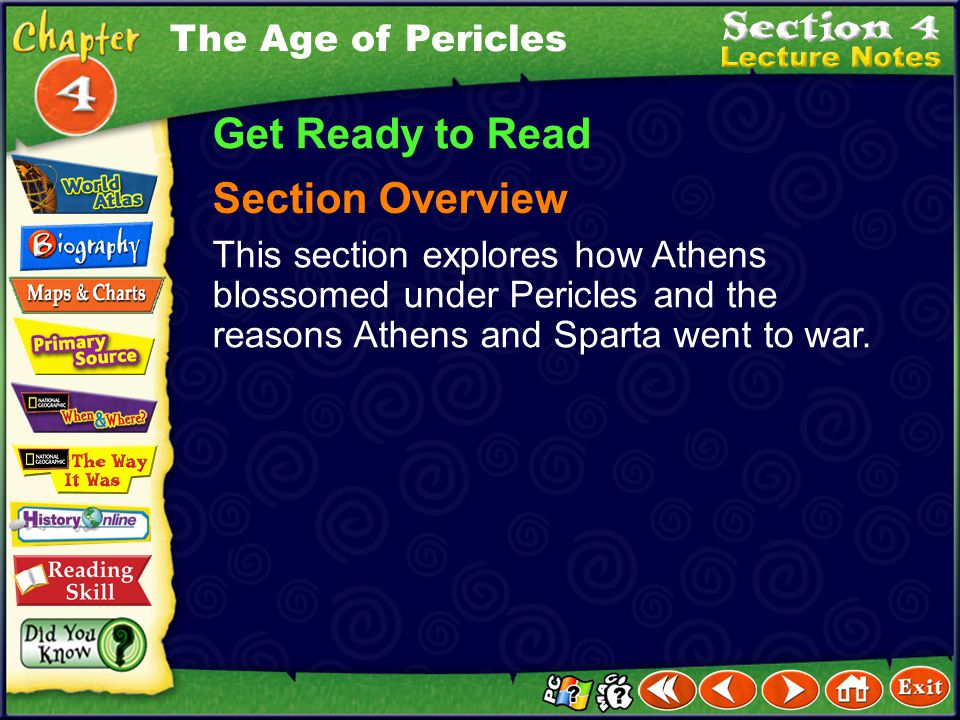 Get Ready to Read Section Overview The Age of Pericles