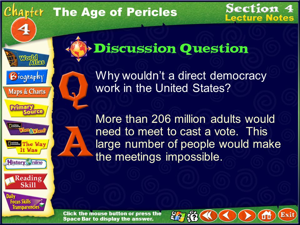 The Age of Pericles Why wouldn't a direct democracy work in the United States