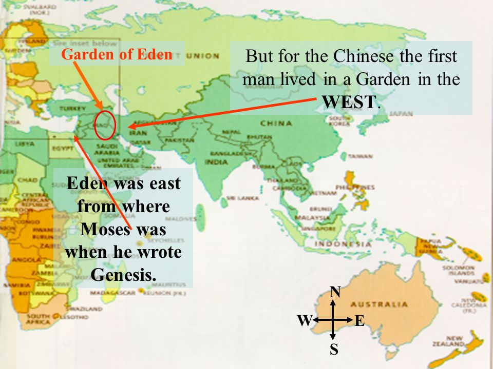 Eden was east from where Moses was when he wrote Genesis.