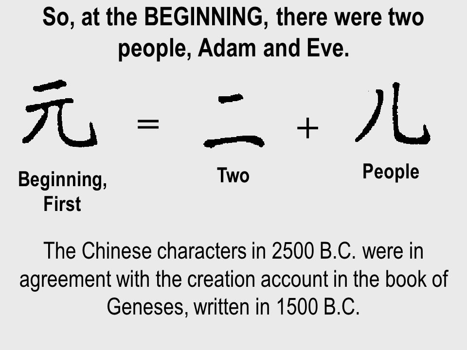 So, at the BEGINNING, there were two people, Adam and Eve.