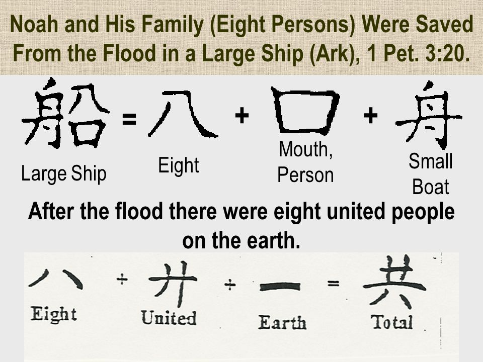 After the flood there were eight united people on the earth.